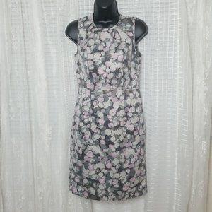 LOFT Sleeveless Abstract Floral Dress Sz0